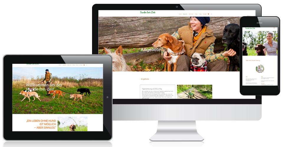 Darstellung der responsiven Homepage der Hunde-frei-Zeit