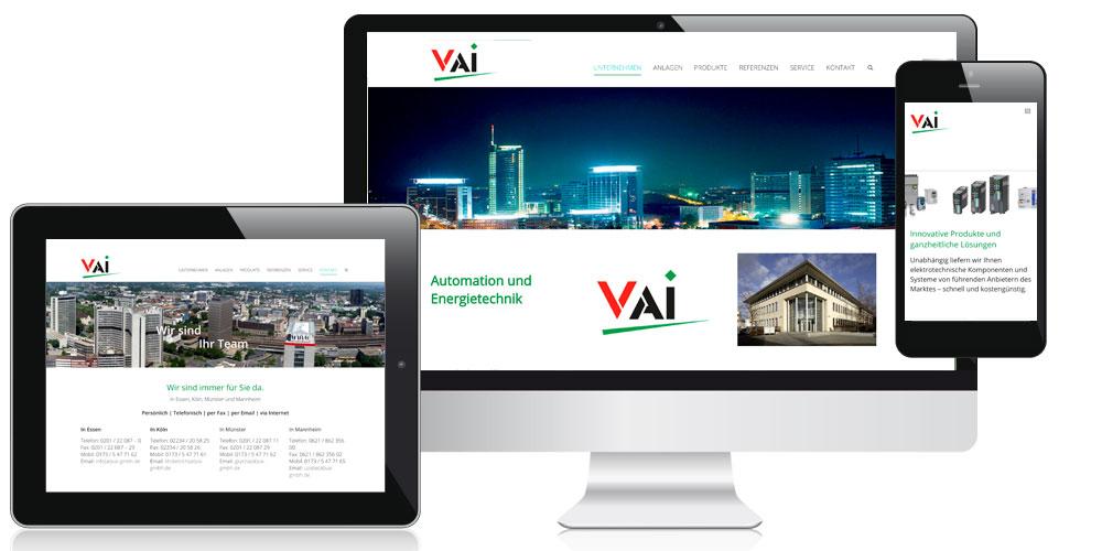 Bild der responsiven Homepage von der VAI GmbH in Essen