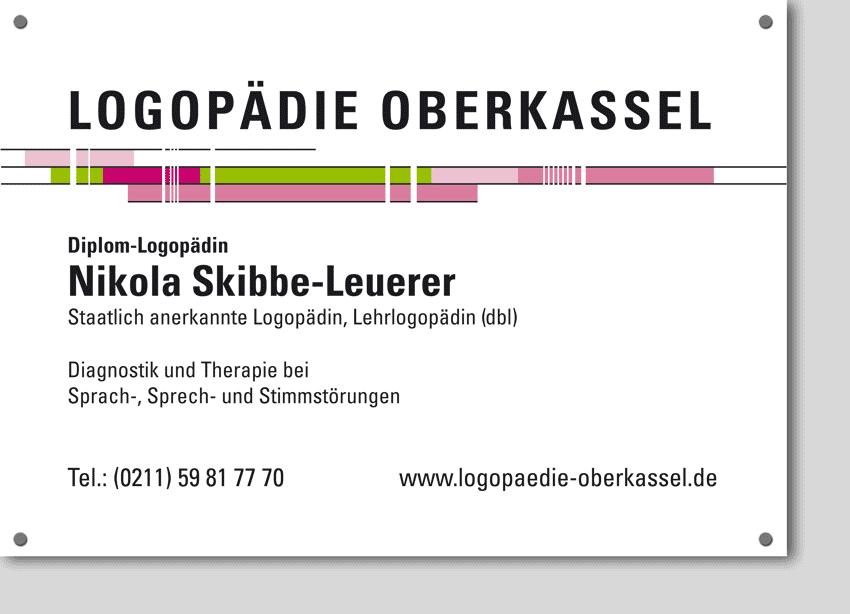 Praxisschild LOGOPÄDIE OBERKASSEL