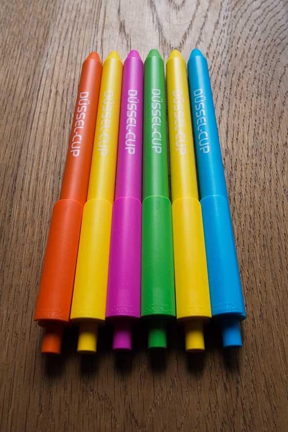 Farbige Kugelschreiber für den DÜSSEL-CUP