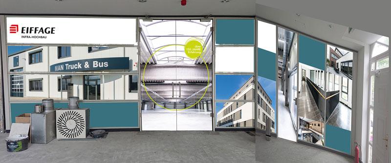 Gestaltete Büro Glaswände